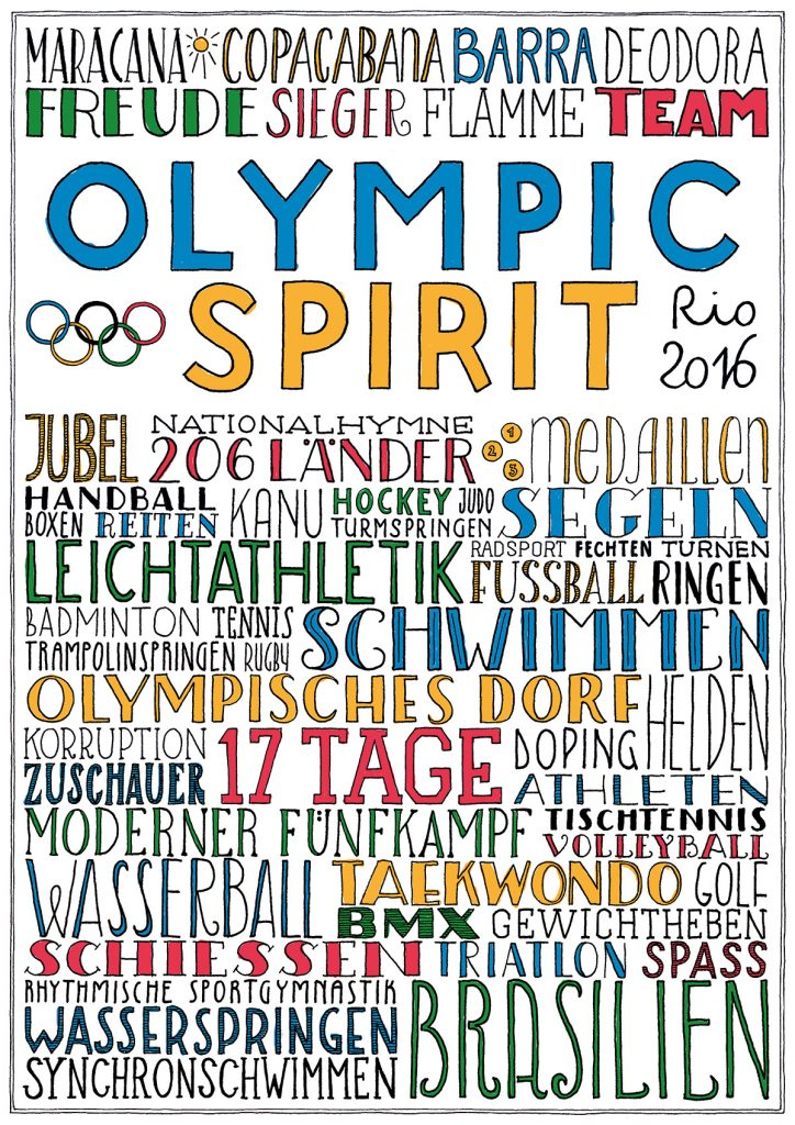 farbiges Lettering: Olympic Spirit Rio 2016