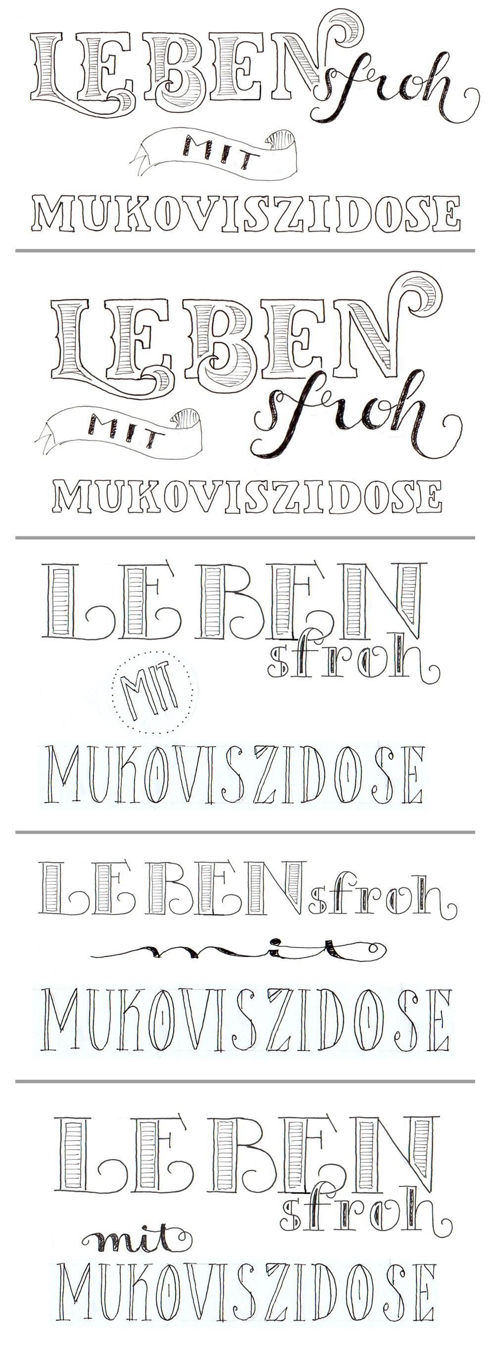 "5 Letteringentwürfe ""Lebensfroh mit Mukoviszidose"""