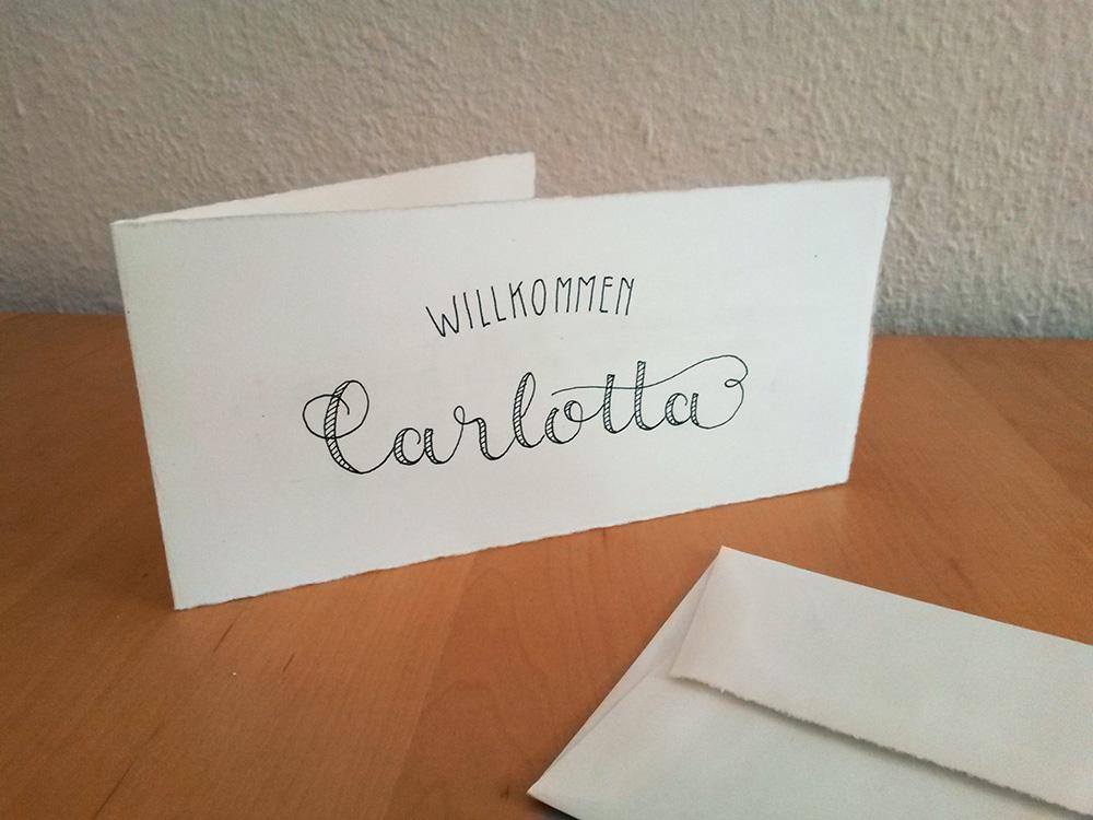 """Foto von Klappkarte """"Willkommen Carlotta"""""""