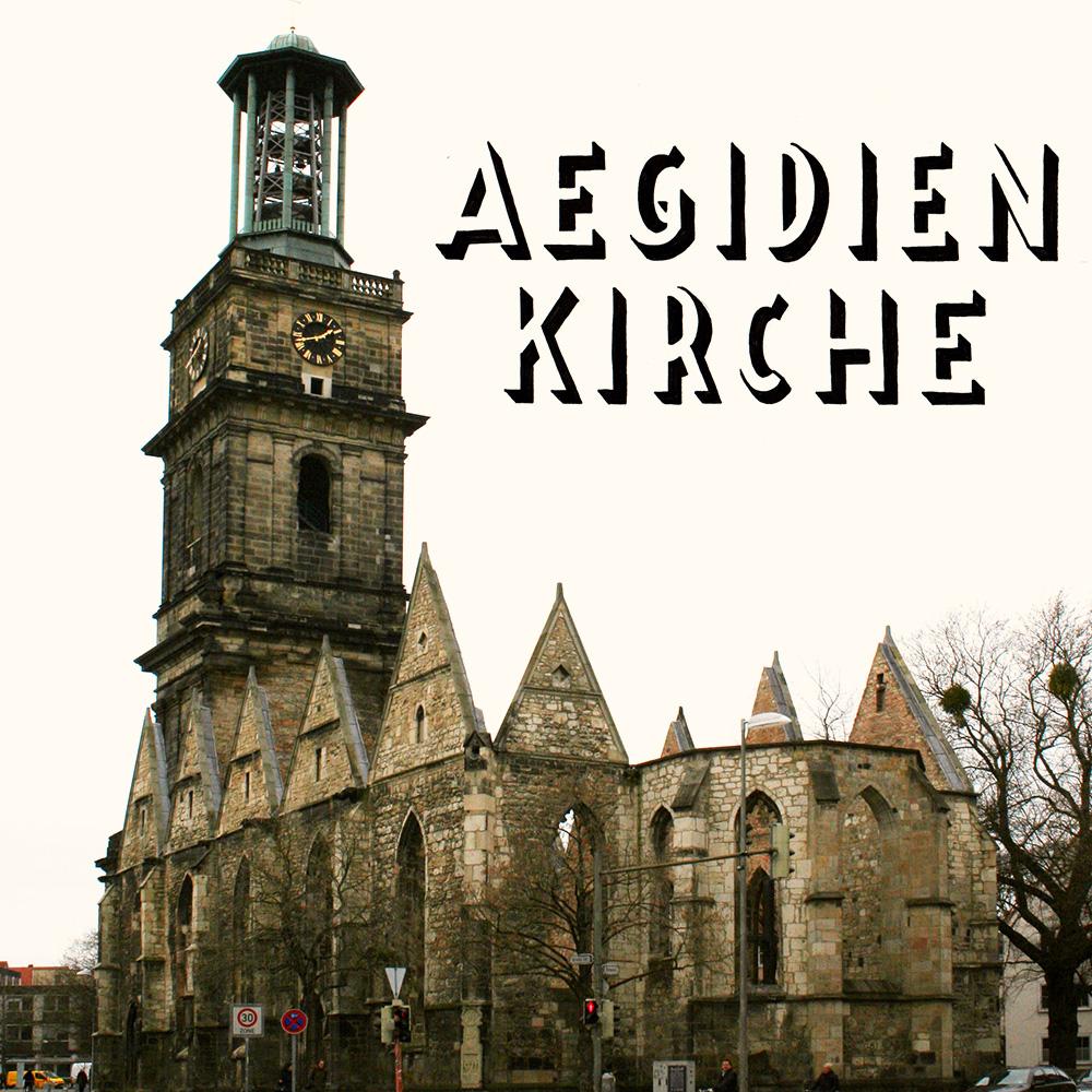 """Lettering und Foto """"Aegidienkirche"""""""
