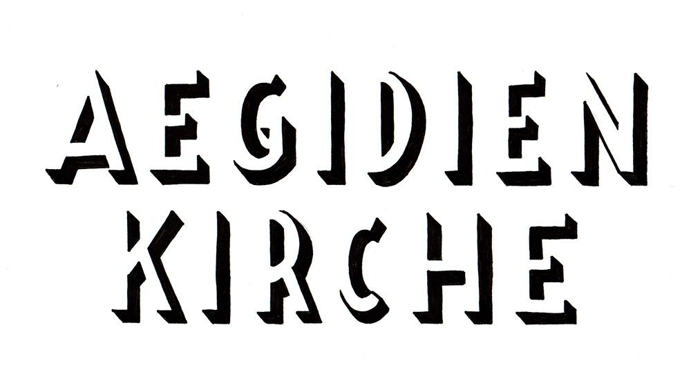 """Lettering """"Aegidienkirche"""""""