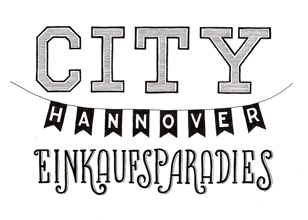 """Lettering """"City Hannover Einkaufsparadies"""""""