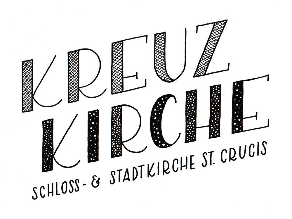 "Lettering ""Kreuzkirche - Schloss- und Stadtkirche St. Crucis"""