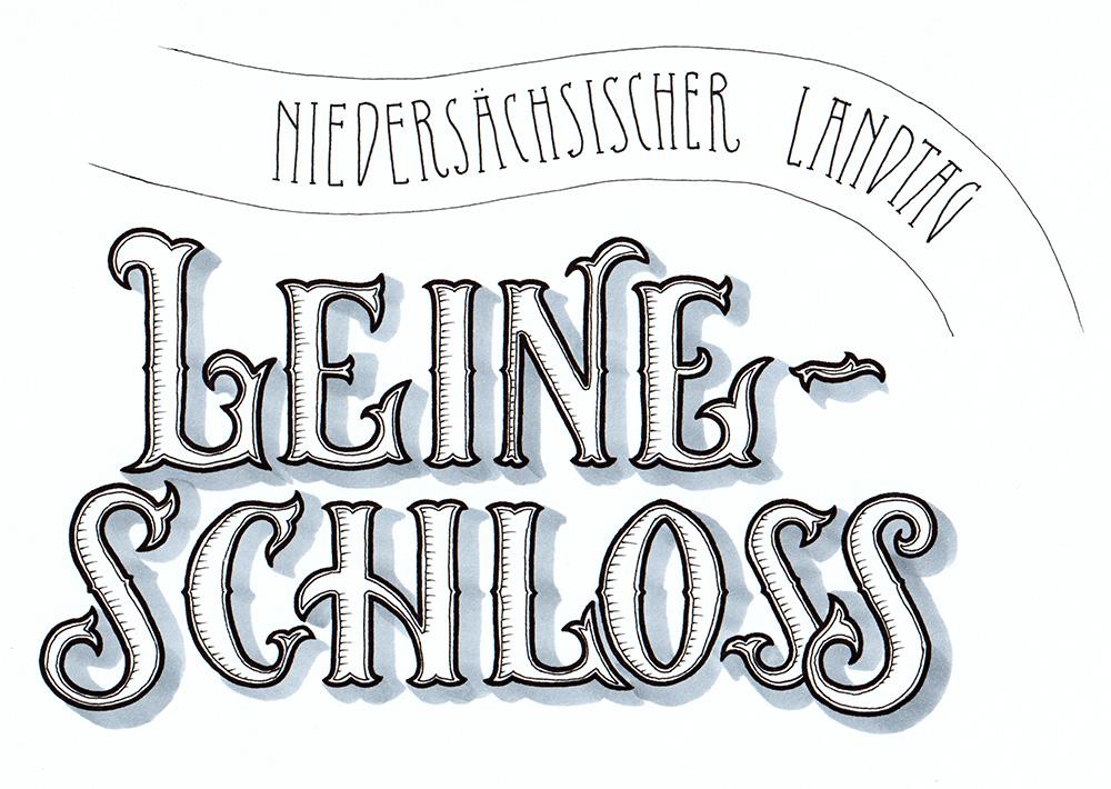 """Lettering """"Leineschloss - Niedersächsischer Landtag"""""""