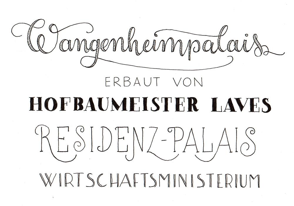 """Lettering """"Wangenheimpalais erbaut von Hofbaumeister Laves, Residenz-Palais, Wirtschaftsministerium"""""""