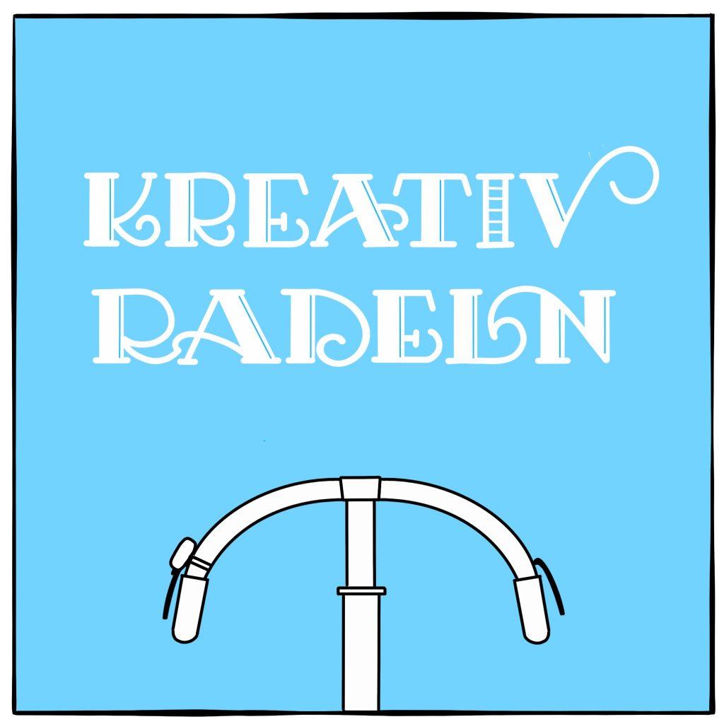 """Lettering """"Kreativradeln"""" mit Fahrradlenker"""