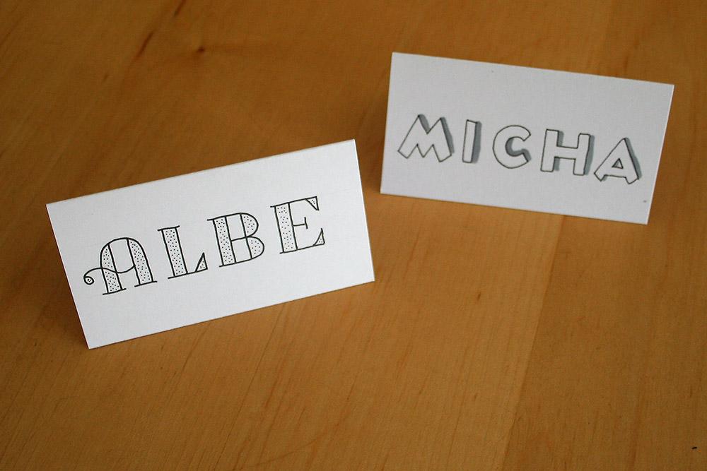 Foto Platzkarten für Albe und Michael