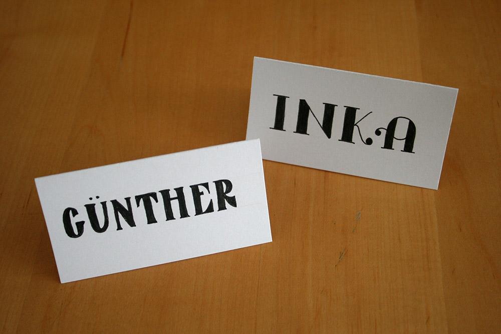 Foto Platzkarten für Günther und Inka