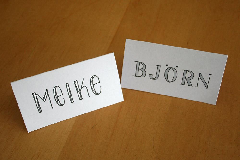 Foto Platzkarten für Meike und Björn
