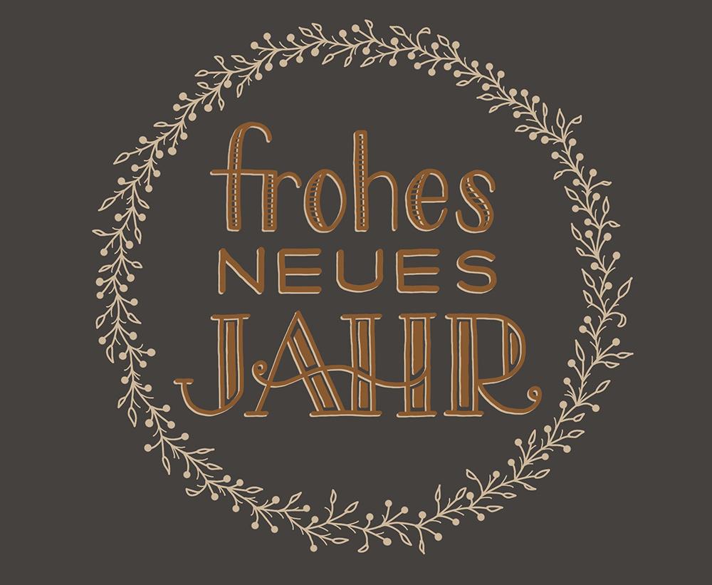 """Lettering """"Frohes neues Jahr"""" mit Blätterranke"""