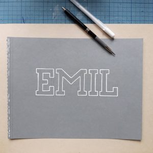 Lettering für Emil Johann nur weiße Kontur