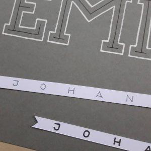 Lettering für Emil Johann Zwischenstadium