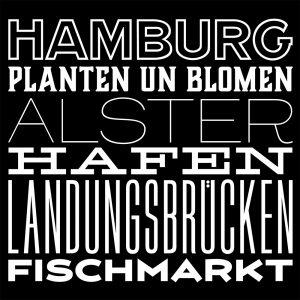 Vorlage für ein schwarzes T-Shirt mit weißem Aufdruck zu Begriffen aus Hamburg