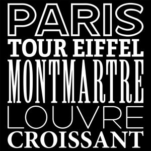 Vorlage für ein schwarzes T-Shirt mit weißem Aufdruck zu Begriffen aus Paris