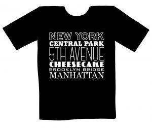 schwarzes T-Shirt mit weißem Aufdruck zu Begriffen aus New York