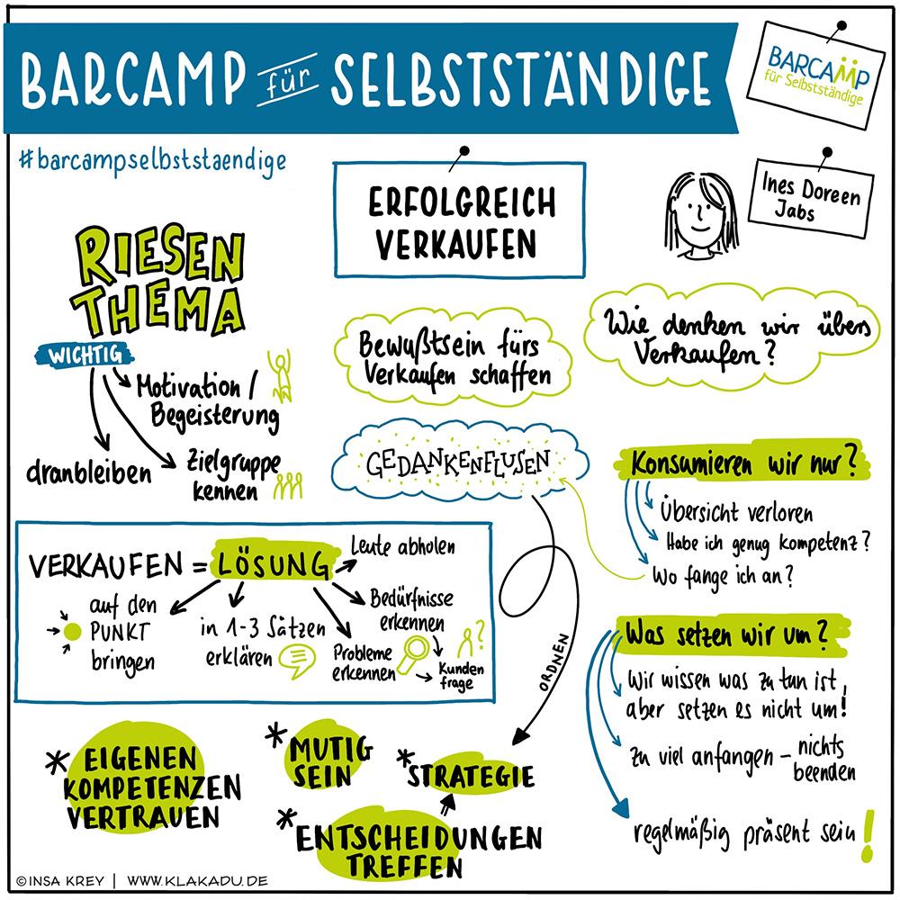 Sketchnote einer Session vom Barcamp für Selbstständige Thema Verkaufen