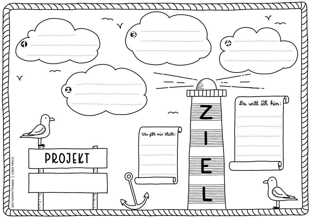 Vorlage für ein Projekt mit Leuchtturm-Motiv