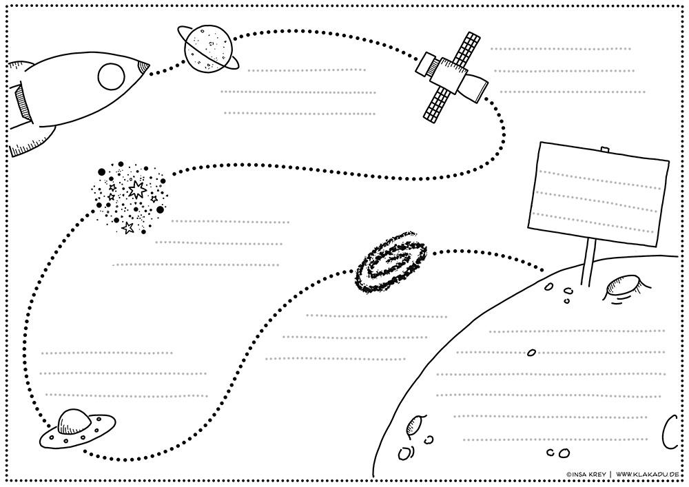 Vorlage für ein Projekt mit Weltraum-Motiv