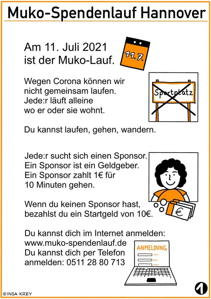 Muko-Lauf in leichter Sprache - Ablauf Teil 1: am 11.7.21 ist der Lauf, jede*r sucht sich vorher einen Sponsor, Anmeldung per Internet