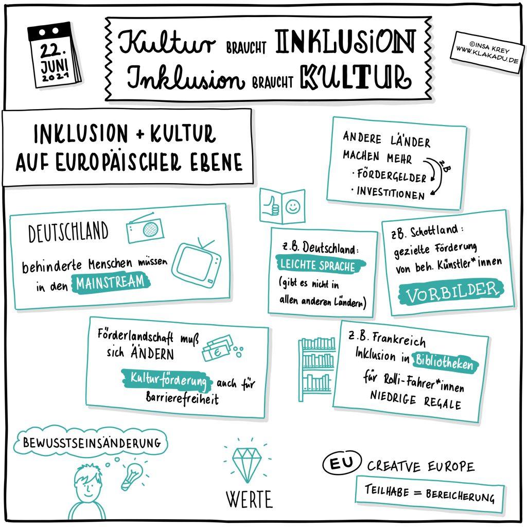 Sketchnote Zusammenfassung Gesprächsrunde: Inklusion und Kultur auf europäischer Ebene